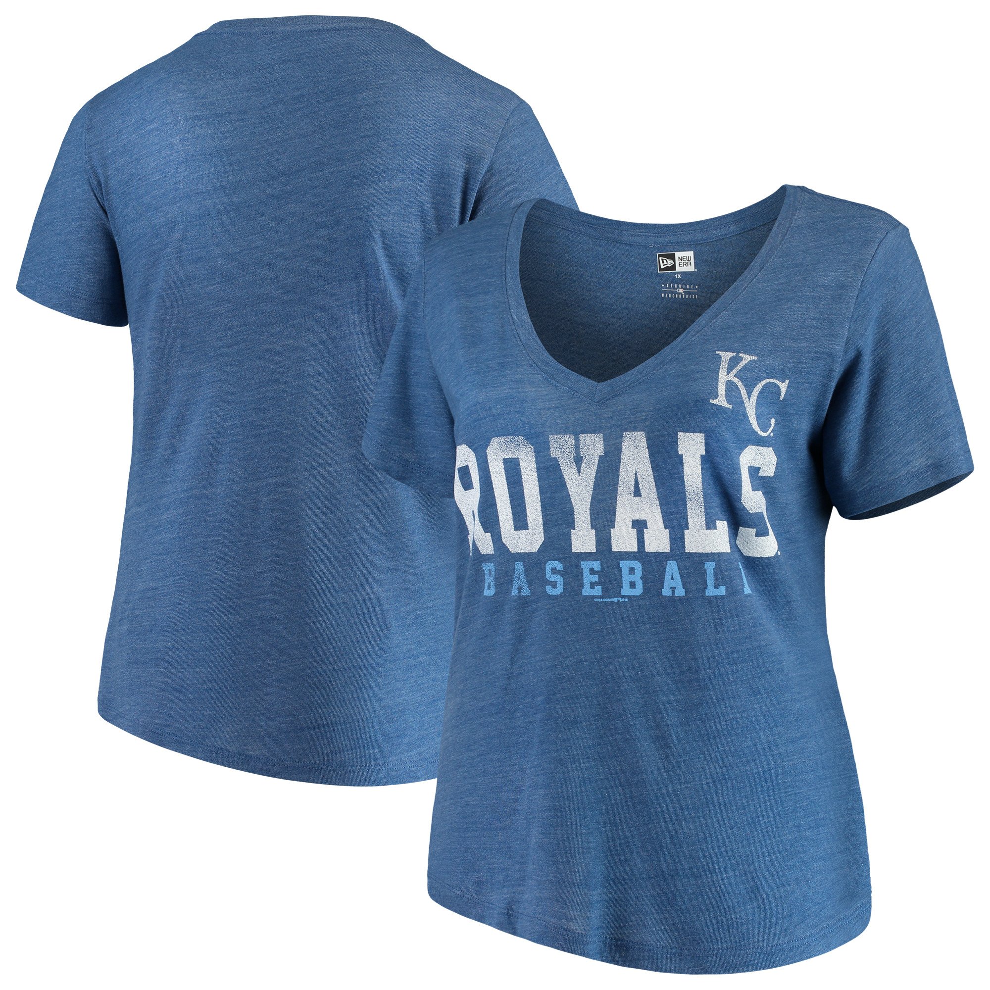 Kansas City Royals 5th & Ocean by New Era Women's Plus Size Tri-Blend Jersey V-Neck T-Shirt - Royal