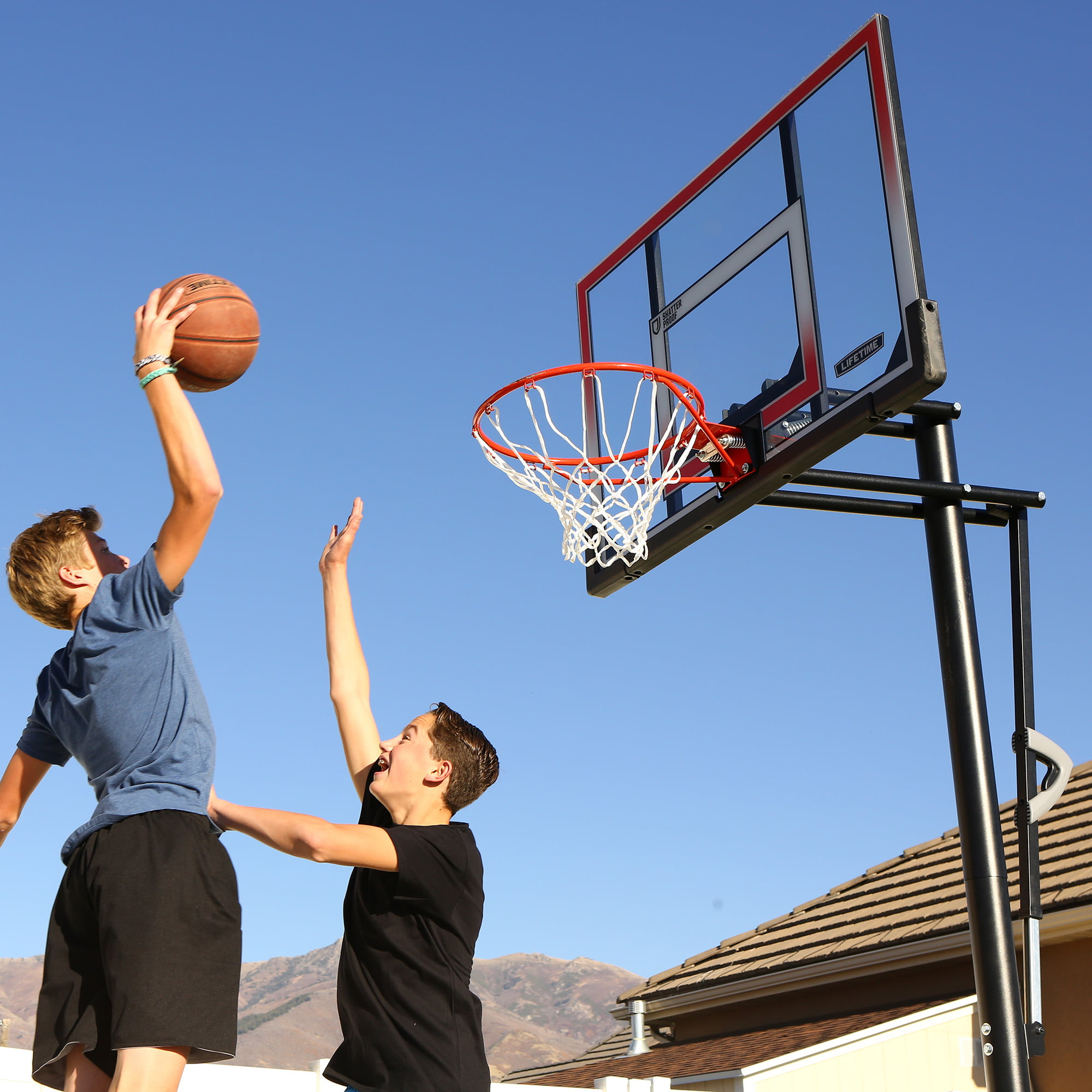 """Lifetime 50/"""" Shatterproof In-Ground One Hand Height Adjustable Basketball system"""