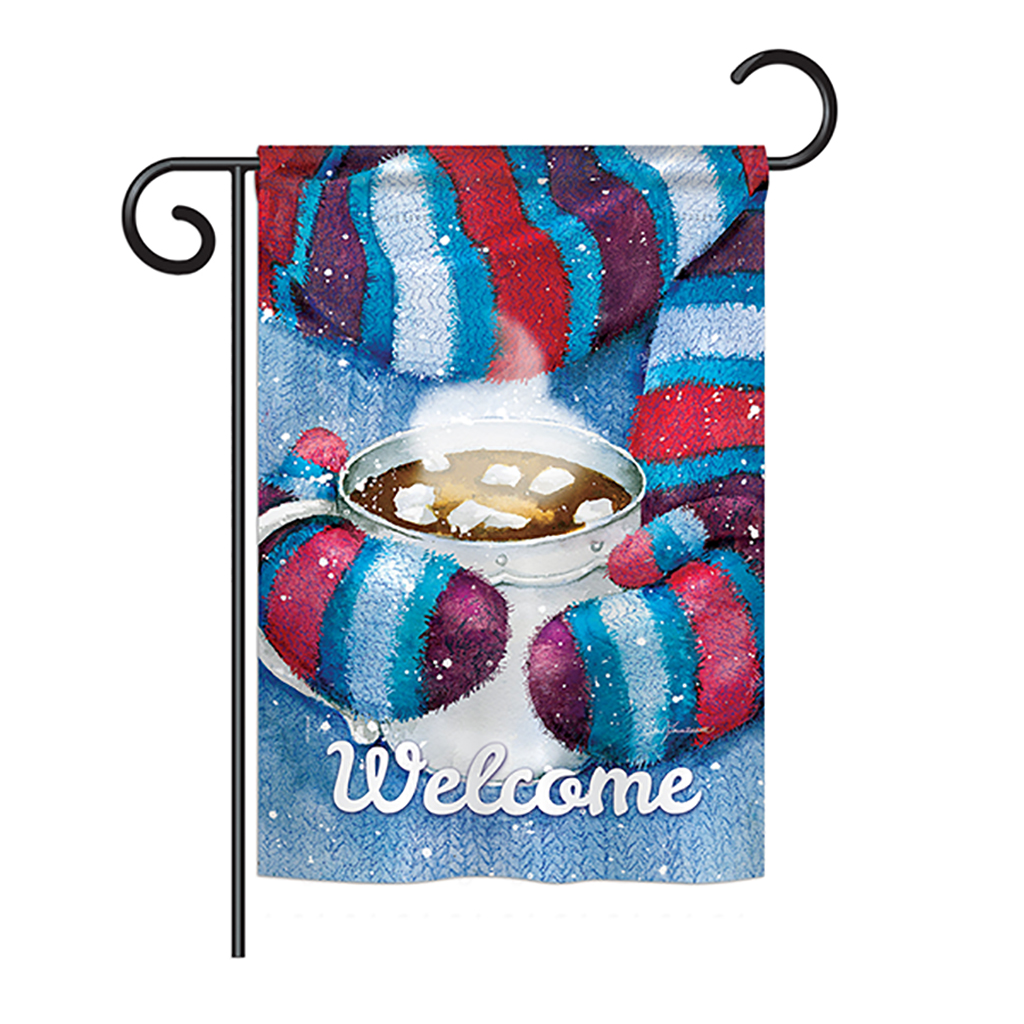 Mittens and Cocoa Winter - Seasonal Impressions Decorative Vertical Garden Flag
