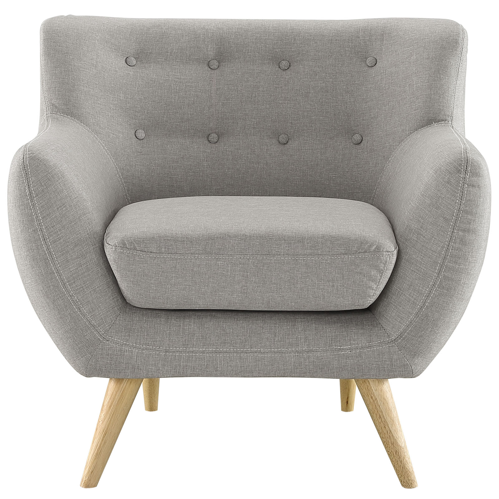 Modern Contemporary Armchair, Grey Fabric by