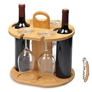 Kato Wine 2 Bottle Holder & 4 Glass Rack, Wine Glass Hanging Drying Stand Organizer on Countertop Tabletop with Free Corkscrew, Bamboo