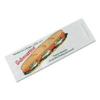 """SUB SANDWICH BAGS, 4.5"""" X 14"""", WHITE/SUBMARINE-SANDWICH THEME, 1,000/CARTON"""