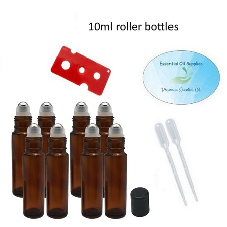 10ml Essential Oil Amber Glass Roller Bottles with Stainless Steel Balls (Pack of 8), Pipettes, and Essential Oil Bottle (Amber Bell)