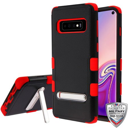 Red Samsung Telephone - Samsung Galaxy S10 Phone Case Tuff Hybrid Shockproof Impact Armor Rubber Rugged Hard TPU Protective Kickstand [Military-Grade Certified] Cover BLACK RED Phone Case for Samsung Galaxy S10 (6.1