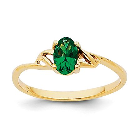14k Yellow Gold 6x4 Oval Emerald Birthstone -