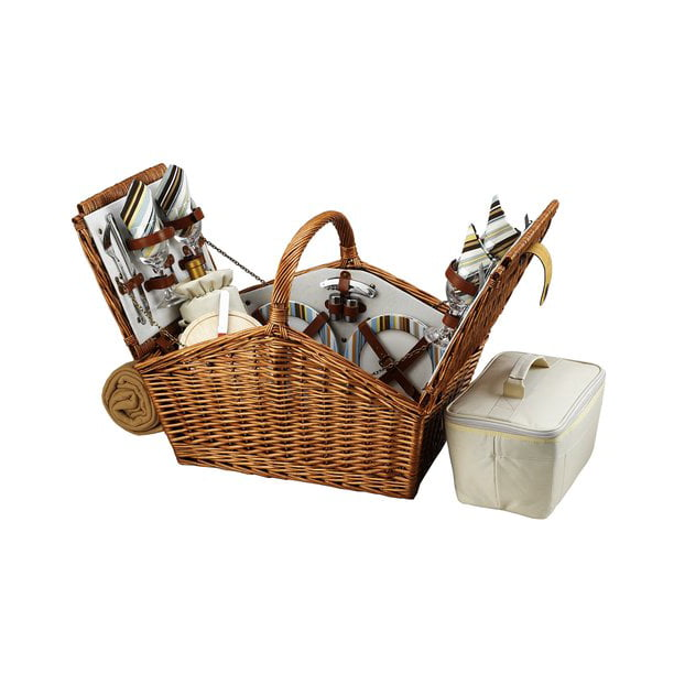 Picnic At Ascot Huntsman Basket for Four with Blanket in Santa Cruz