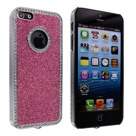 Hot Pink Glitter Back Cover Case with Diamonds for iPhone 5 /