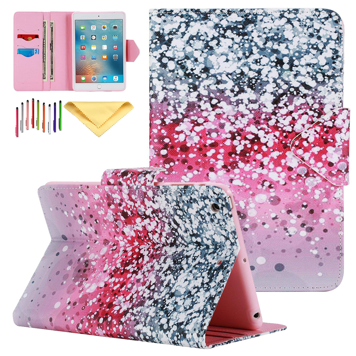 iPad Mini 7.9 Inch Case, iPad Mini 2 3 Cover, Goodest Folio Slim Fit Stand Bumper Smart Cover Auto Sleep Wake Shock Absorption Protector Cards Pocket for Apple iPad mini 1st/2nd/3rd Gen, Glitter Sand