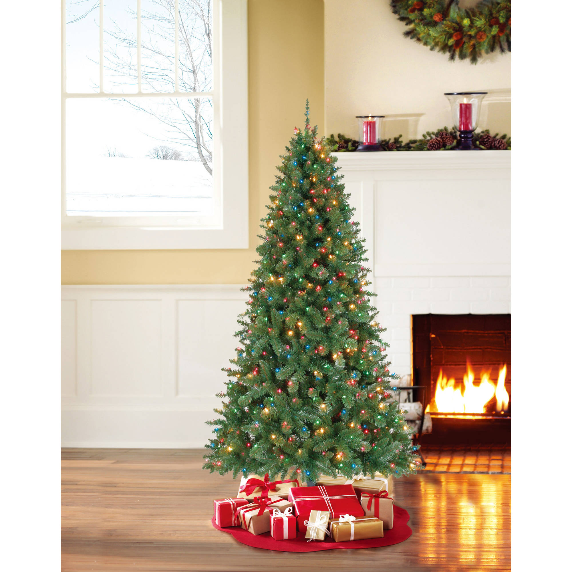 holiday time artificial christmas trees pre lit 6 palm artificial tree clear lights walmartcom - Artificial Christmas Trees