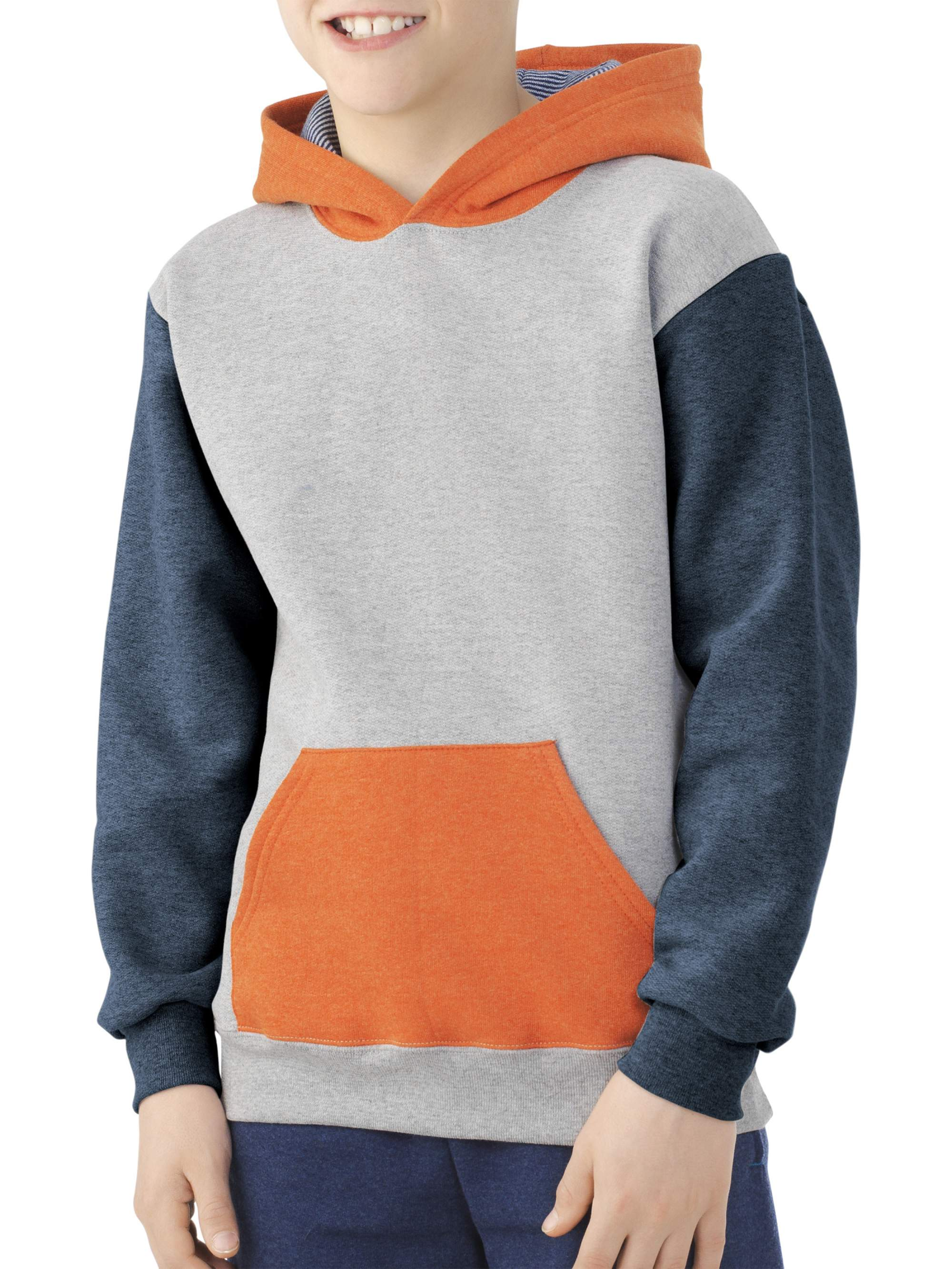 Boys' Explorer Fleece Super Soft Pullover Hoodie with Contrast Sleeves