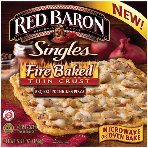 Red Baron Fire Baked Thin Crust BBQ Chicken Pizza Singles, 5.51 oz
