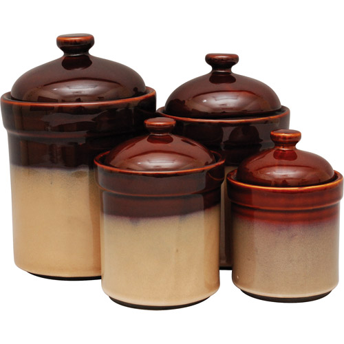 brown and green kitchen sango 4 canister set brown walmart 4933