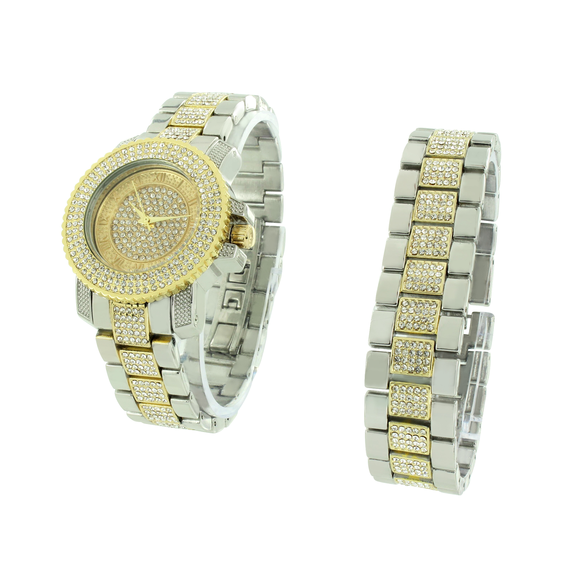 Iced Out Unisex Watch & Bracelet Set Simulated Diamonds Stainless Steel Back Quartz Movement
