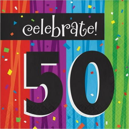 Party Creations Milestone Celebrations 50th Birthday Lunch Napkins, 16 Ct](50th Birthday Sunglasses)