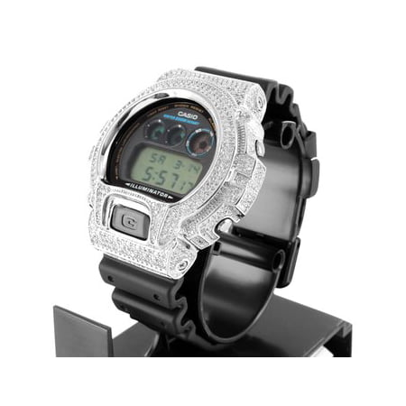 Mens Iced Out Lab Diamond Dw6900 G Shock Silicon Rubber Band Watch