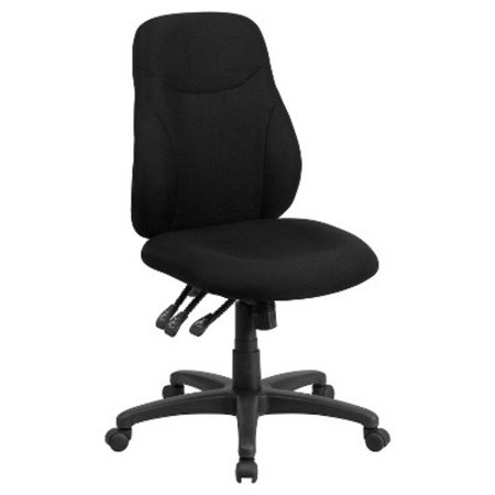 Flash Furniture Mid-Back Black Fabric Multi-Functional Ergonomic Armless Swivel Task Office Chair Fabric Ergonomic Task Home Office