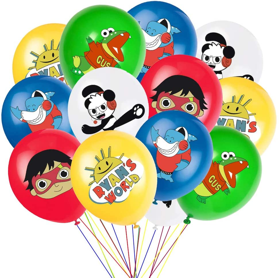 24 Pcs Ryans World Cupcake Toppers Party Favors for Kids Birthday Baby Shower Decorations