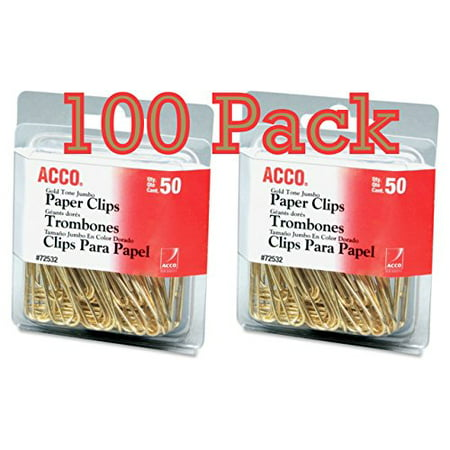 Value Pack of 100 ACCO Gold Tone Jumbo Paper Clips, Smooth Finish, Steel Wire, 20 Sheet Capacity, 2 boxes, 50 Clips per Box (A7072532)