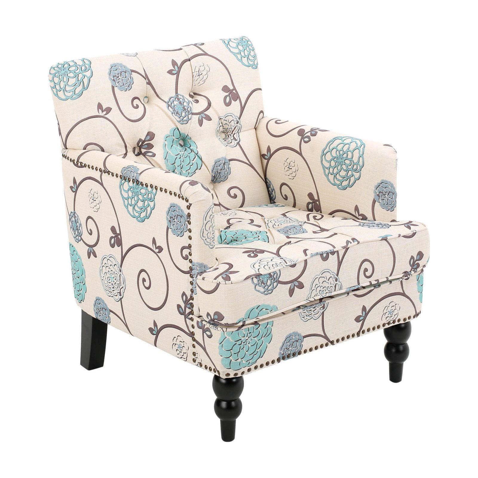 Harrison Floral Tufted Club Chair with Nailhead Trim
