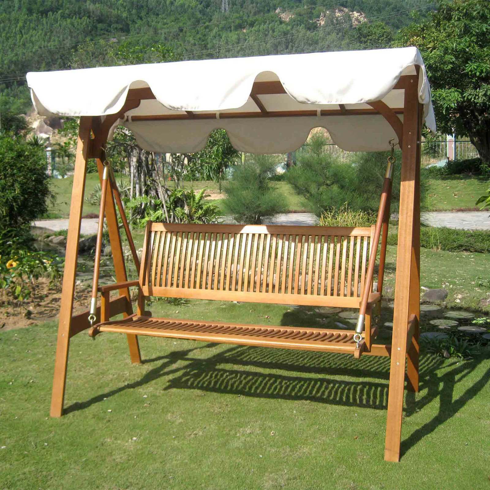 International Caravan Royal Tahiti 3 Seater Patio Swing with Frame and Canopy