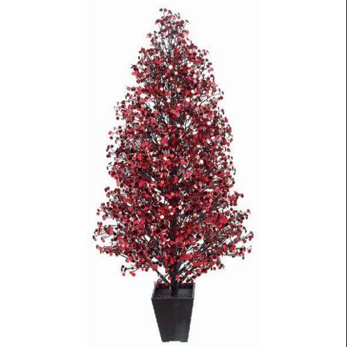 4' Potted Sparkling Red Sequin Bangled Disco Tree