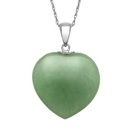 Sterling Silver Natural Jade Heart (Maori Jade Pendants)