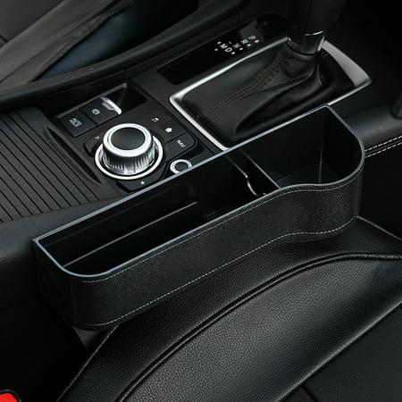 Multi-Functional Car Seat Crevice Storage Box Grain Organizer Gap Slit Filler Holder For Wallet Phone Coins Cigarette Slit Pocket Black