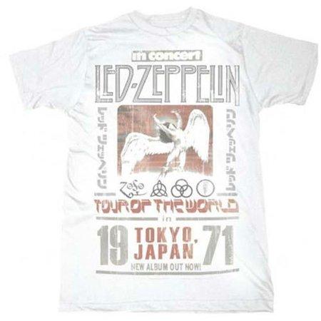 Live Nation Lnm Lz148 L Led Zeppelin Tokyo  71 T Shirt   White   Large