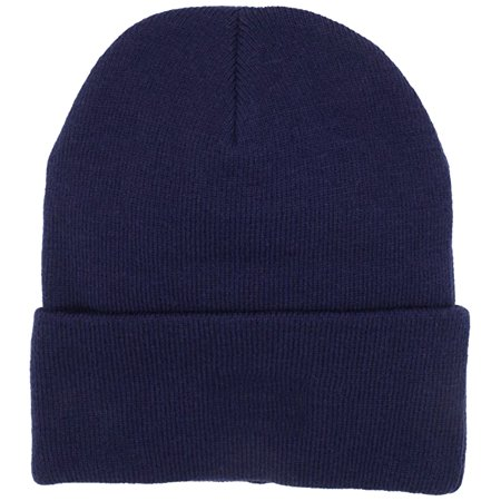 Mens Thermal Baggy Beanie slouchy winter Fleece lined Hat Skull Men Women Cap (Navy Fold over (Skull Embroidered Hat)