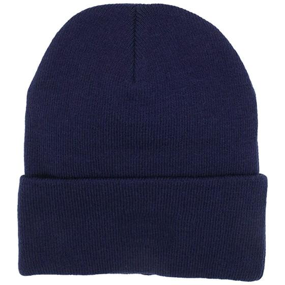bb1e52e5f42 Polar Extreme - Mens Thermal Baggy Beanie slouchy winter Fleece lined Hat  Skull Men Women Cap (Navy Fold over Beanie) - Walmart.com