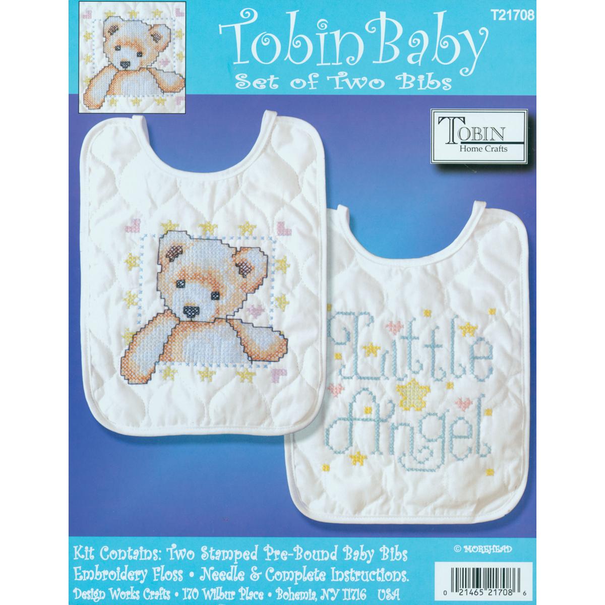 """Tobin Angel Bib Pair Stamped Cross Stitch Kit, 8"""" x 10"""", Set Of 2"""