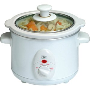 Elite Cuisine MST-250XW 1.5-Quart Round Slow Cooker, White (Small Slow Cooker)