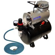 Master Airbrush 1/5 HP Compressor with Air Storage Tank Kit, Single-Piston with Pressure Regulator, Water Trap, Air Hose