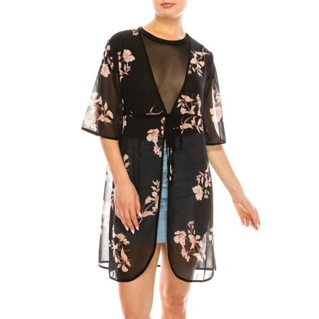 Salt Tree Women's V-Neck Kimono Half Sleeves Split Floral Tunic Top - Kimono Sleeve V-neck Tunic