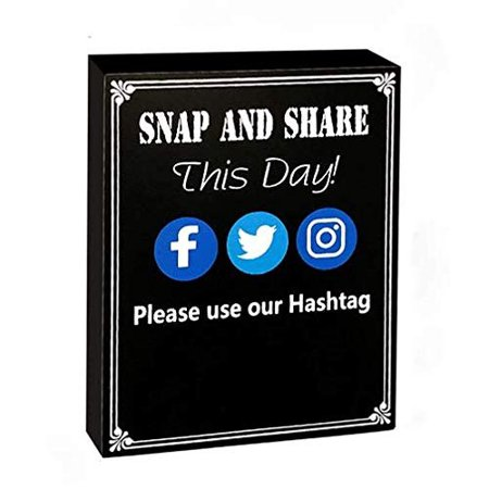 JennyGems - Snap And Share This Day Use Our Hashtag - Hashtag Sign - Media Sign - Wedding Chalkboard Ceremony Receptions Signs - Birthday Anniversaries Graduation Party Special Event- Positive - Birthday Board