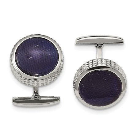 Stainless Steel Polished Blue Cat's Eye Textured Round Cuff Links