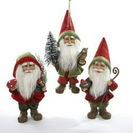 set of 3 storybook garden red and green woodland gnome christmas ornaments
