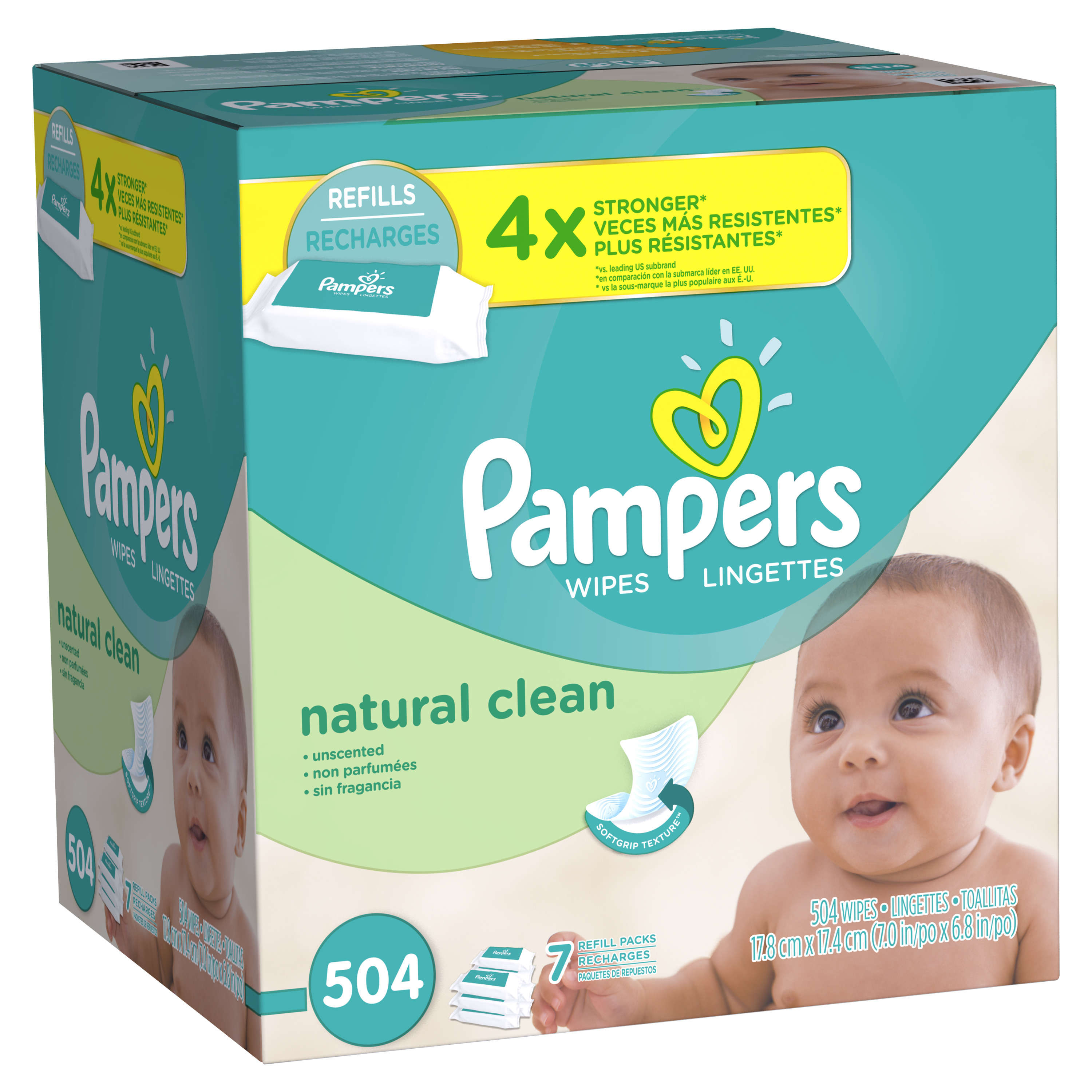 Pampers Baby Wipes Natural Clean 7X Refill 504 count