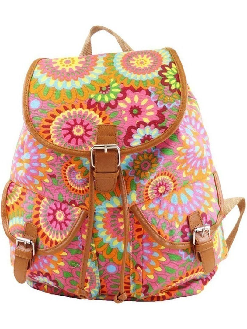 Hearty Trendy Girls Womens Pink Orange Abstract Flower Exterior Pockets Backpack by Hearty Trendy