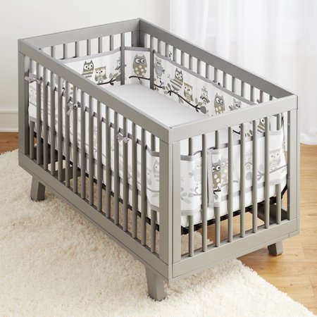 BreathableBaby® Classic Breathable® Mesh Crib Liner -Owl Fun Gray
