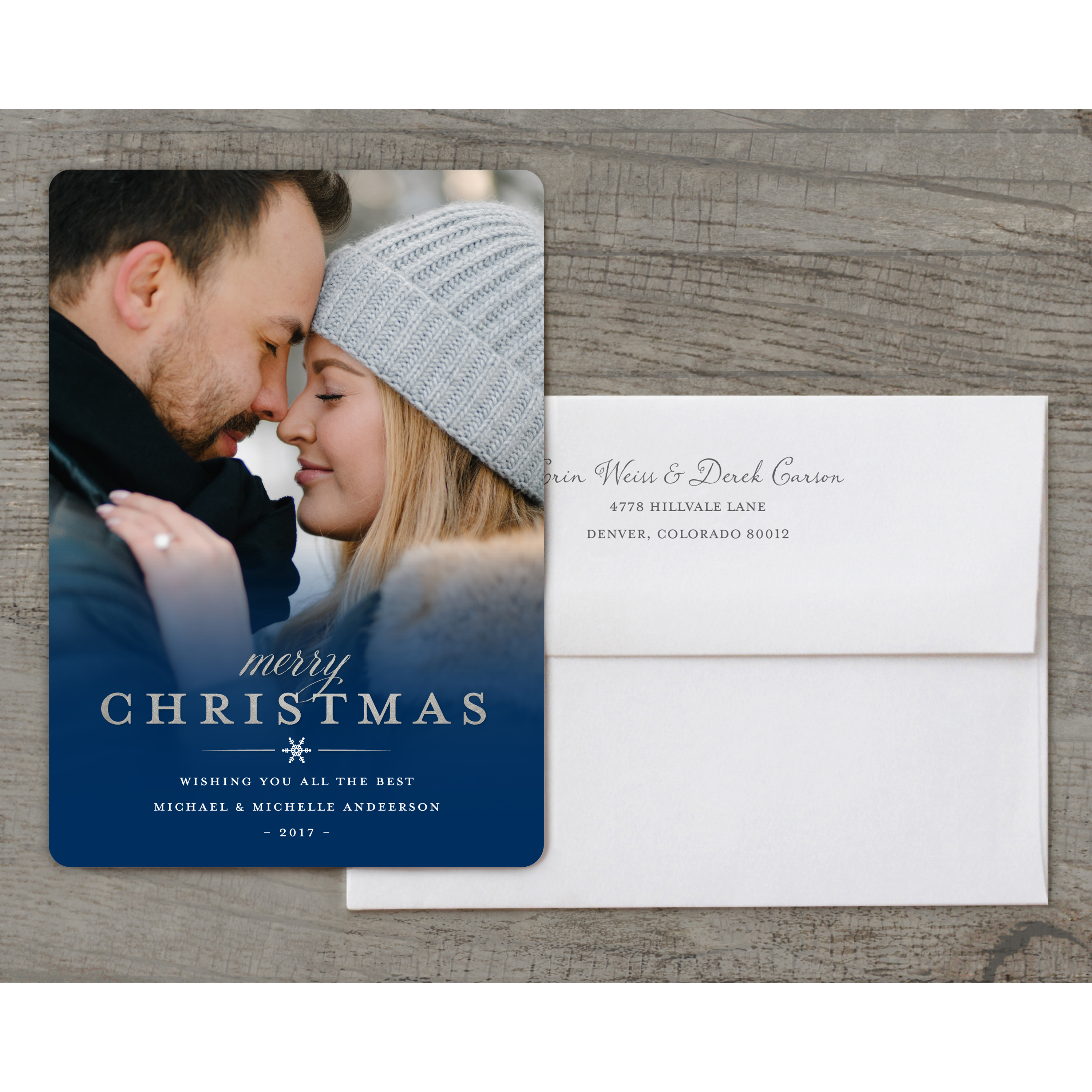 Luxe Foil - Deluxe 5x7 Personalized Holiday Christmas Card