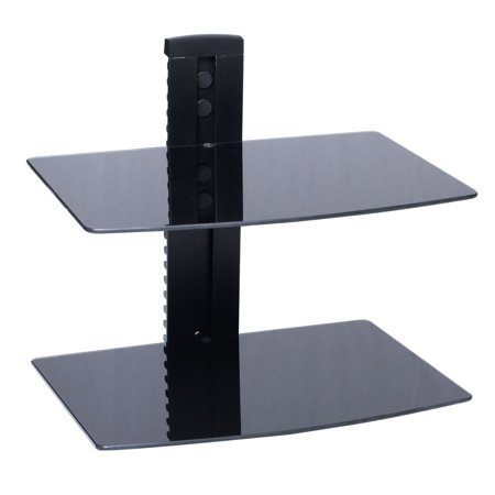 New 2 Shelf Glass Floating Wall Mount Dvd Blu Ray Av