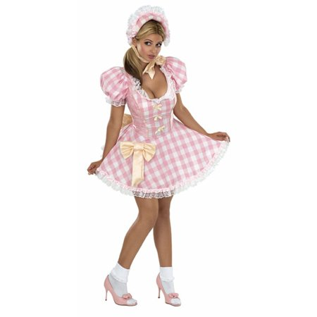 Womens Adult Little Bo Peep Pink And White Gingham Dress - Bo Peep Halloween Costumes Adults