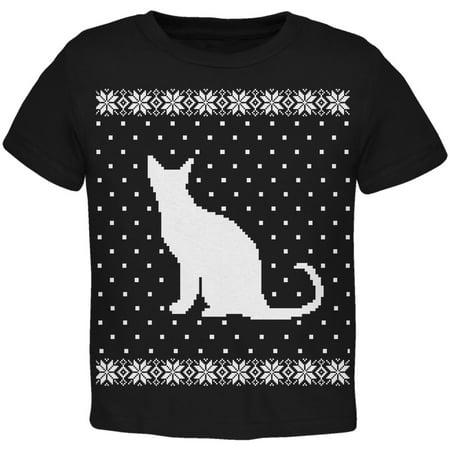 d2ca9dd3cdc316 Big Cat Ugly Christmas Sweater Black Toddler T-Shirt - Walmart.com