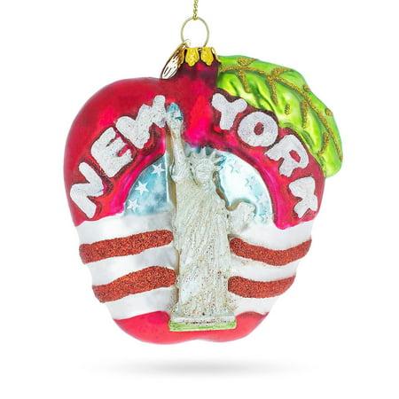 New York Christmas Windows (New York City Apple Symbol Glass Christmas Ornament)
