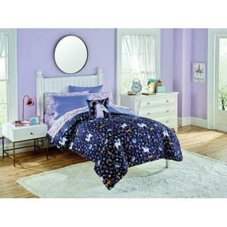 Kids Bedding Purple Magical Unicorns Rainbows Flowers