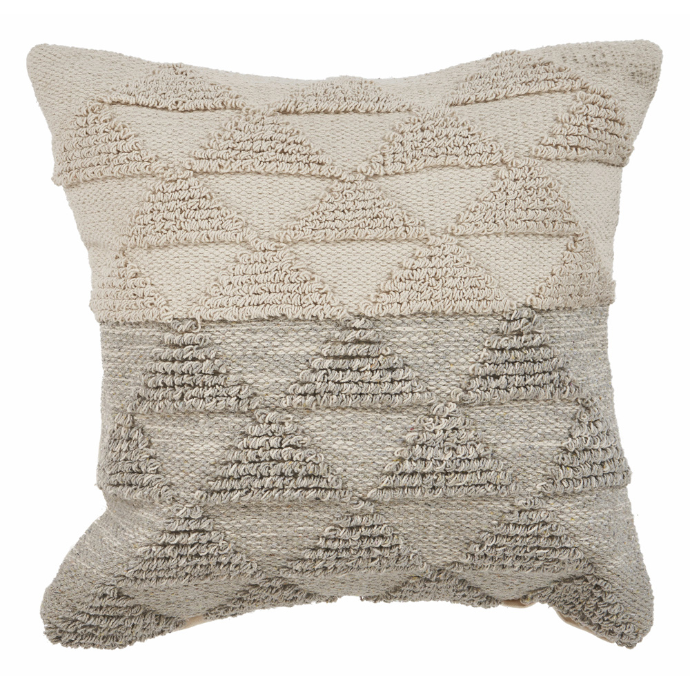 "LR Home Contemporary Geometric Triangle Gray Natural Throw Pillow ( 18"" x 18"" )"