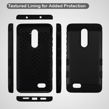 ZTE Grand X Max 2 case, ZTE Zmax Pro phone case, ZTE ZMAX 2 case, by Insten Shock Absorbing TUFF Trooper Hybrid PC/TPU Case For ZTE Grand X Max 2/Imperial Max/Kirk/Max Duo 4G/ZMAX 2/Zmax Pro - Black - image 2 de 5