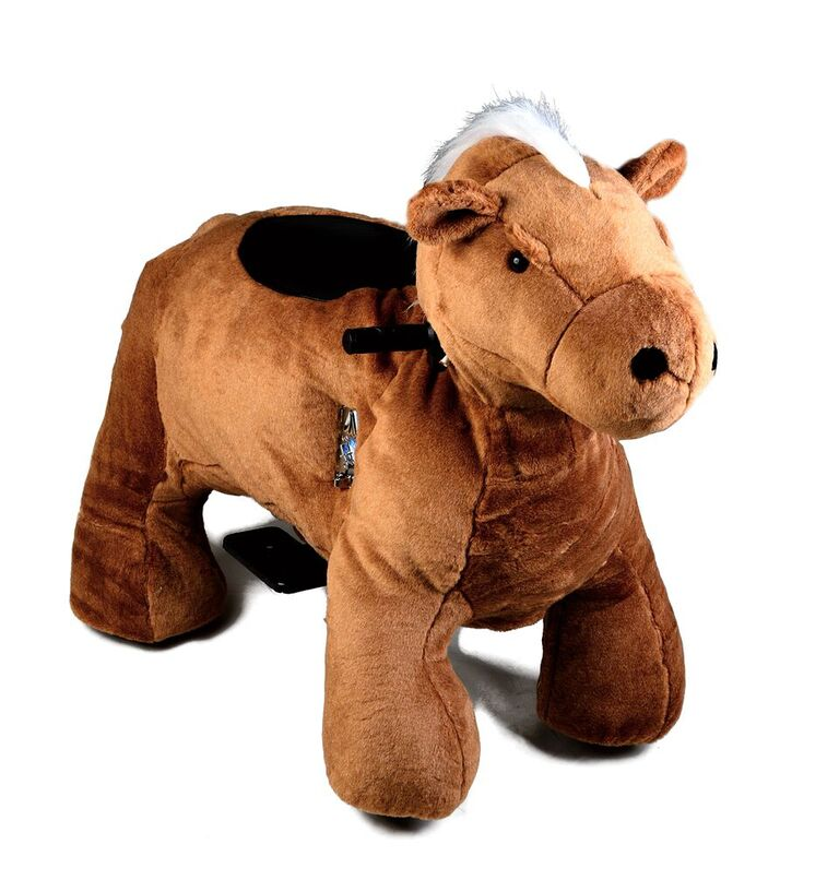 Motorized Plush Horse Ride On Toy Coin Operated Electric Animal Scooter by