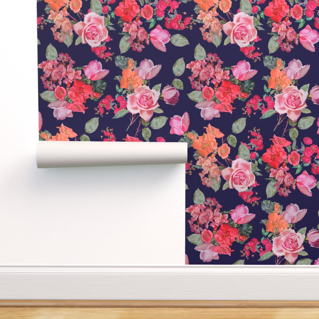 Peel And Stick Removable Wallpaper Large Floral Scale Big Flowers